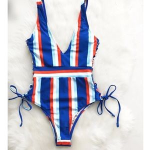 Other - Sexy Lace Up Side Striped One-piece Swimsuit